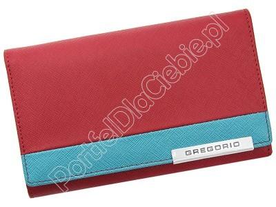 Portfel skórzany Gregorio FRZ-112 - Kolor czerwony + niebieski